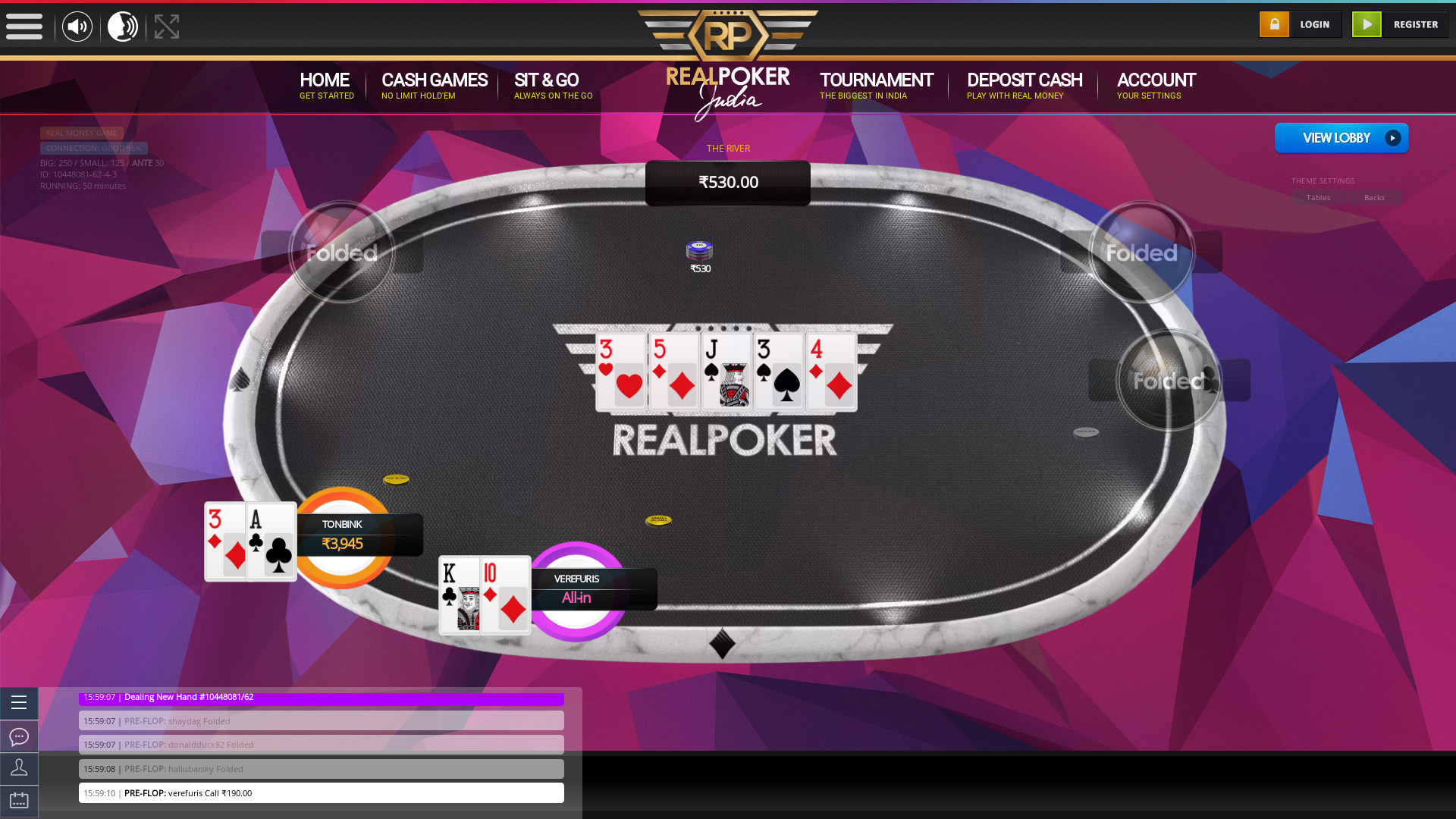 Online poker on a 10 player table in the 50th minute match up