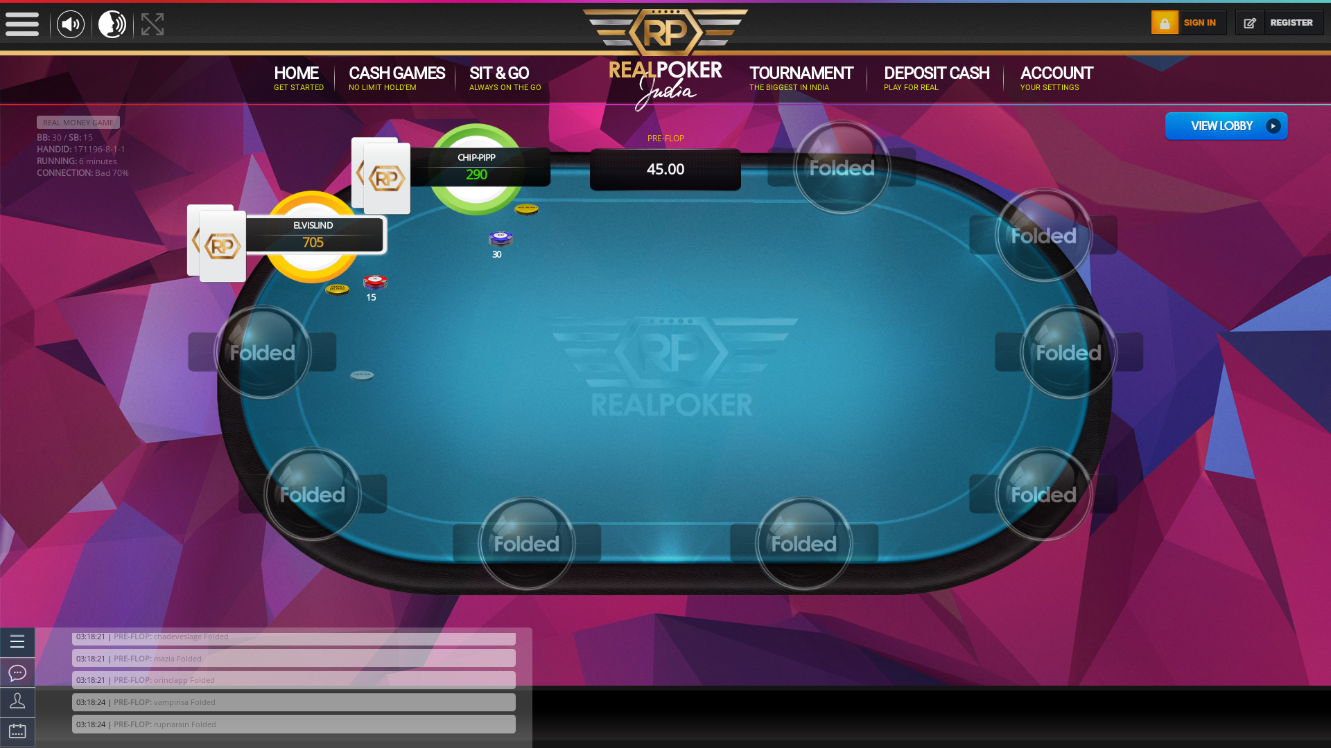 Online poker on a 10 player table in the 6th minute match up