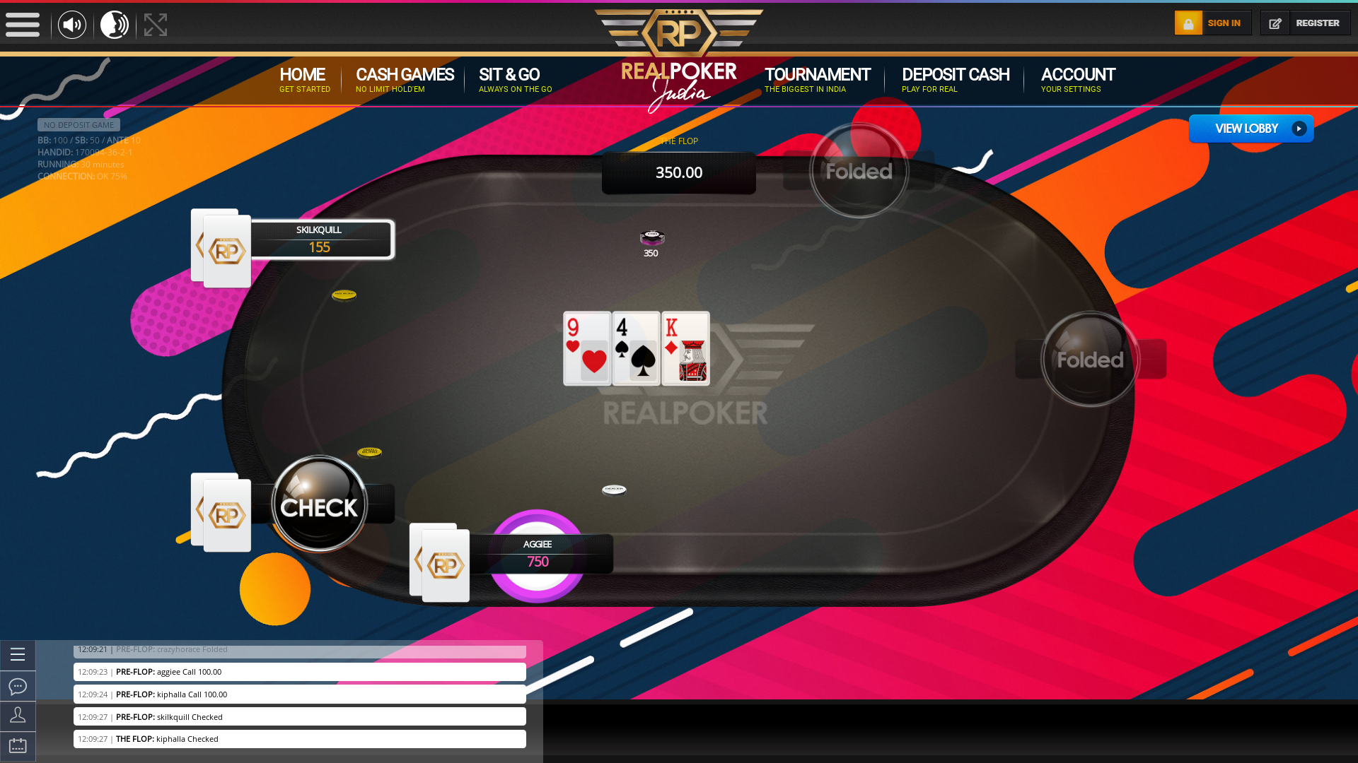 Quepem Goa online poker game on a 10 player table in the 30th minute
