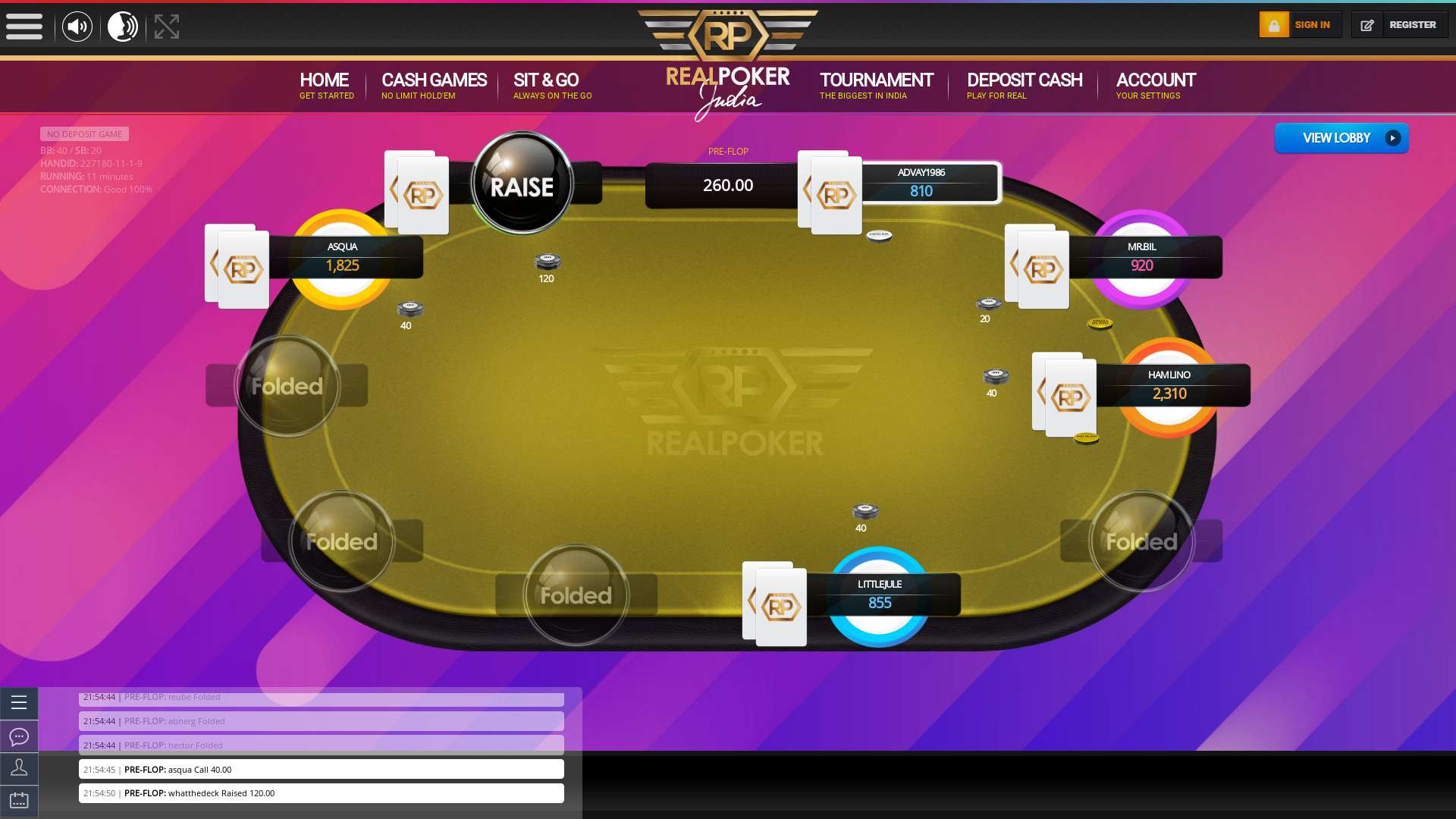 Real Indian poker on a 10 player table in the 10th minute of the game