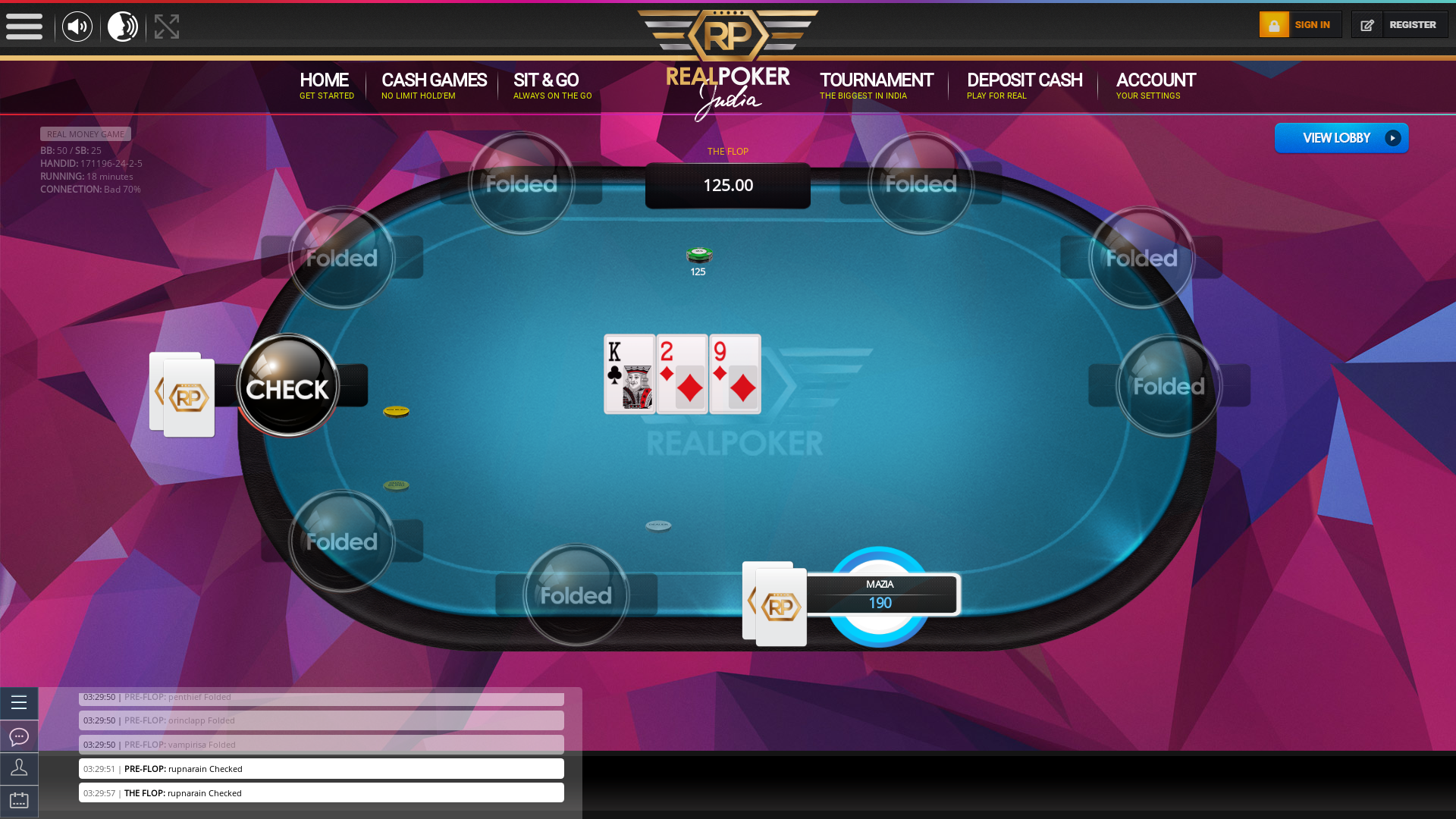Real Indian poker on a 10 player table in the 18th minute of the game