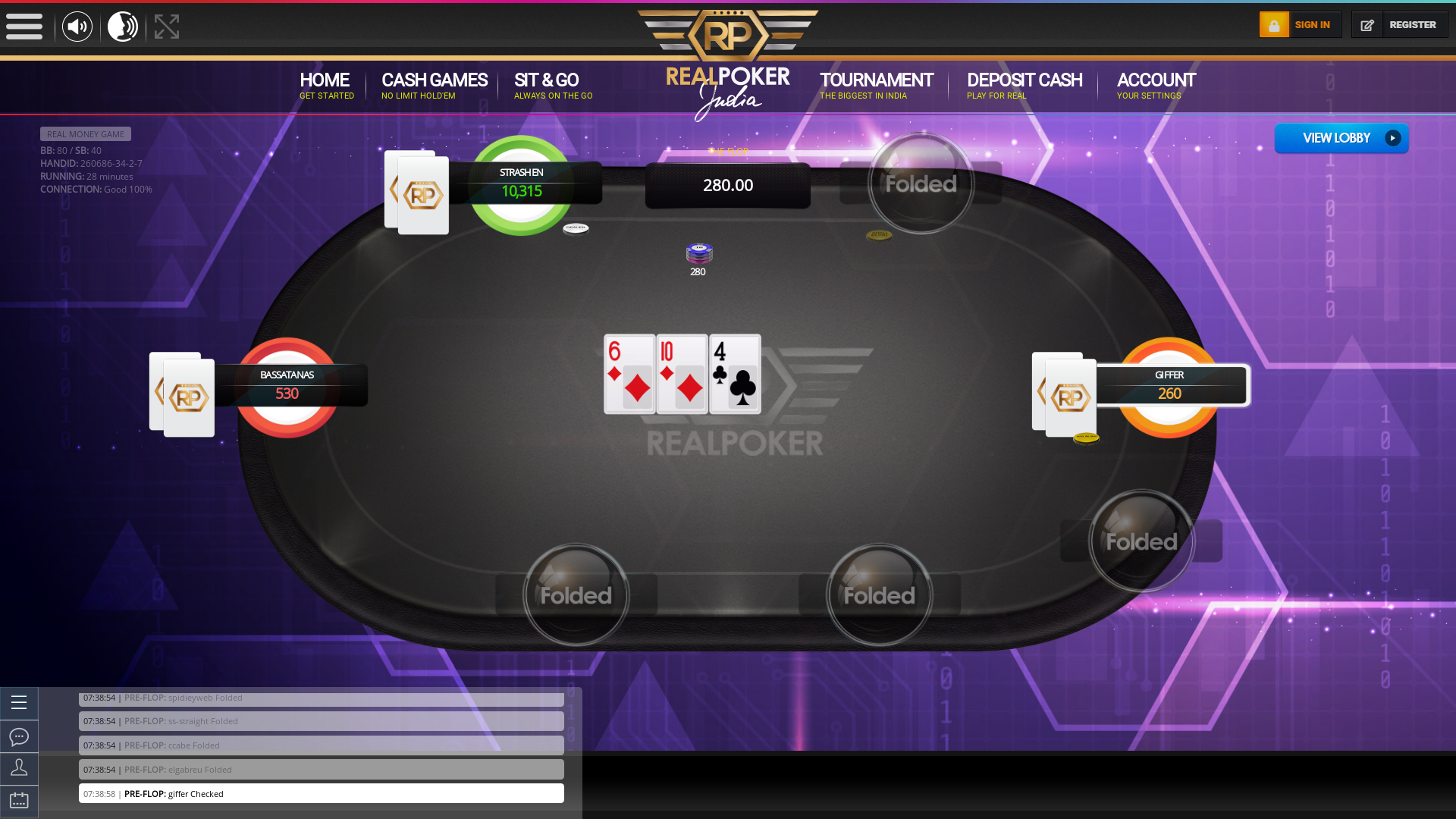 Real Indian poker on a 10 player table in the 27th minute of the game