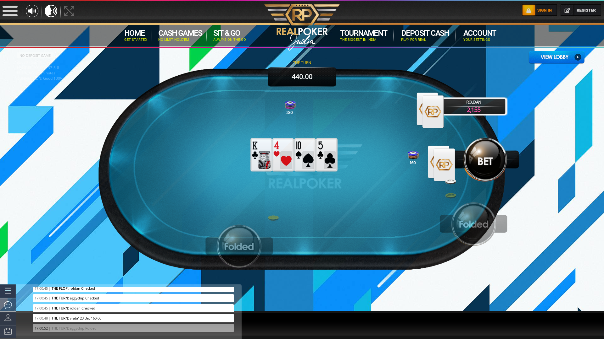 Real Indian poker on a 10 player table in the 29th minute of the game