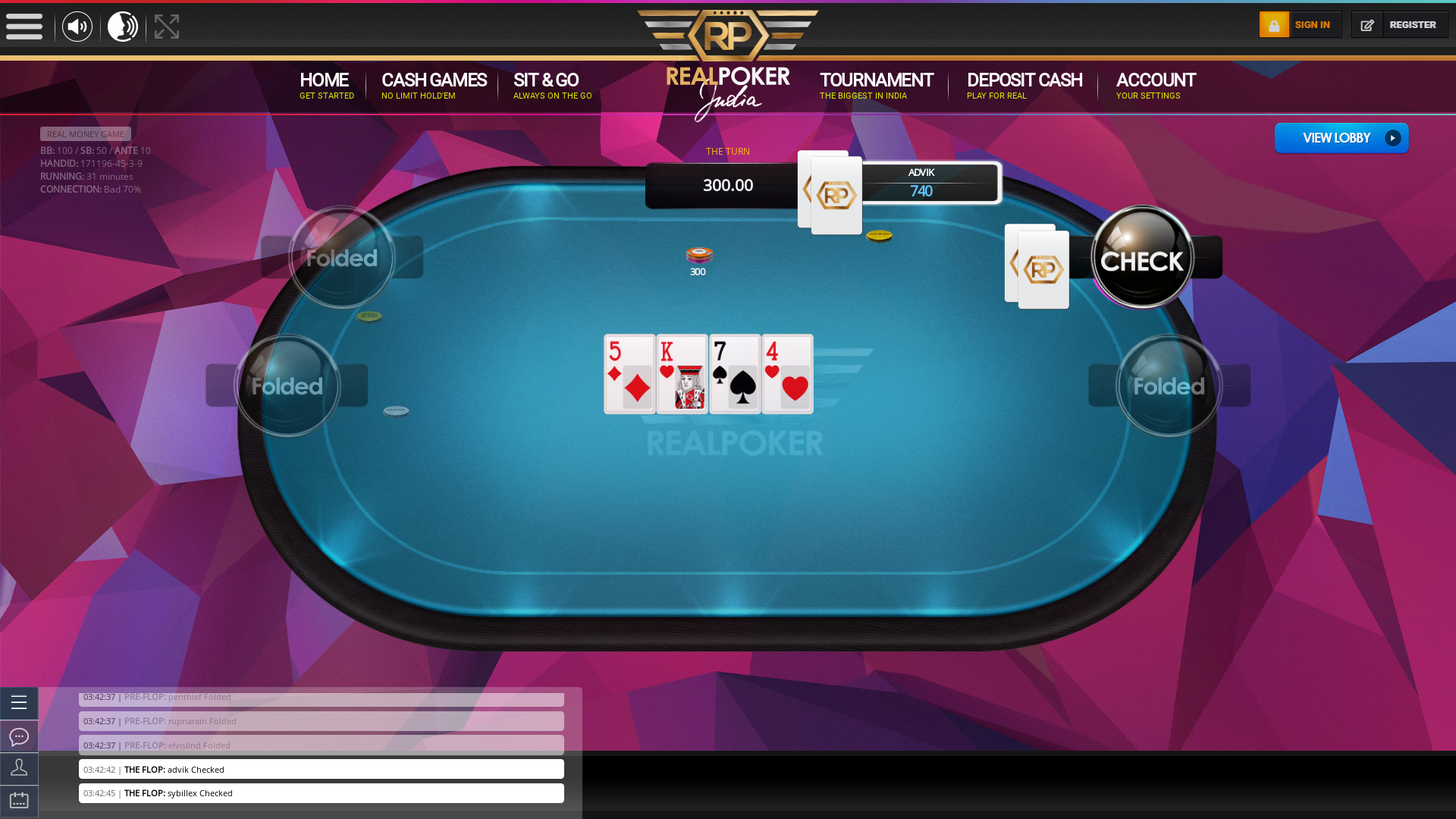 Real Indian poker on a 10 player table in the 3 game