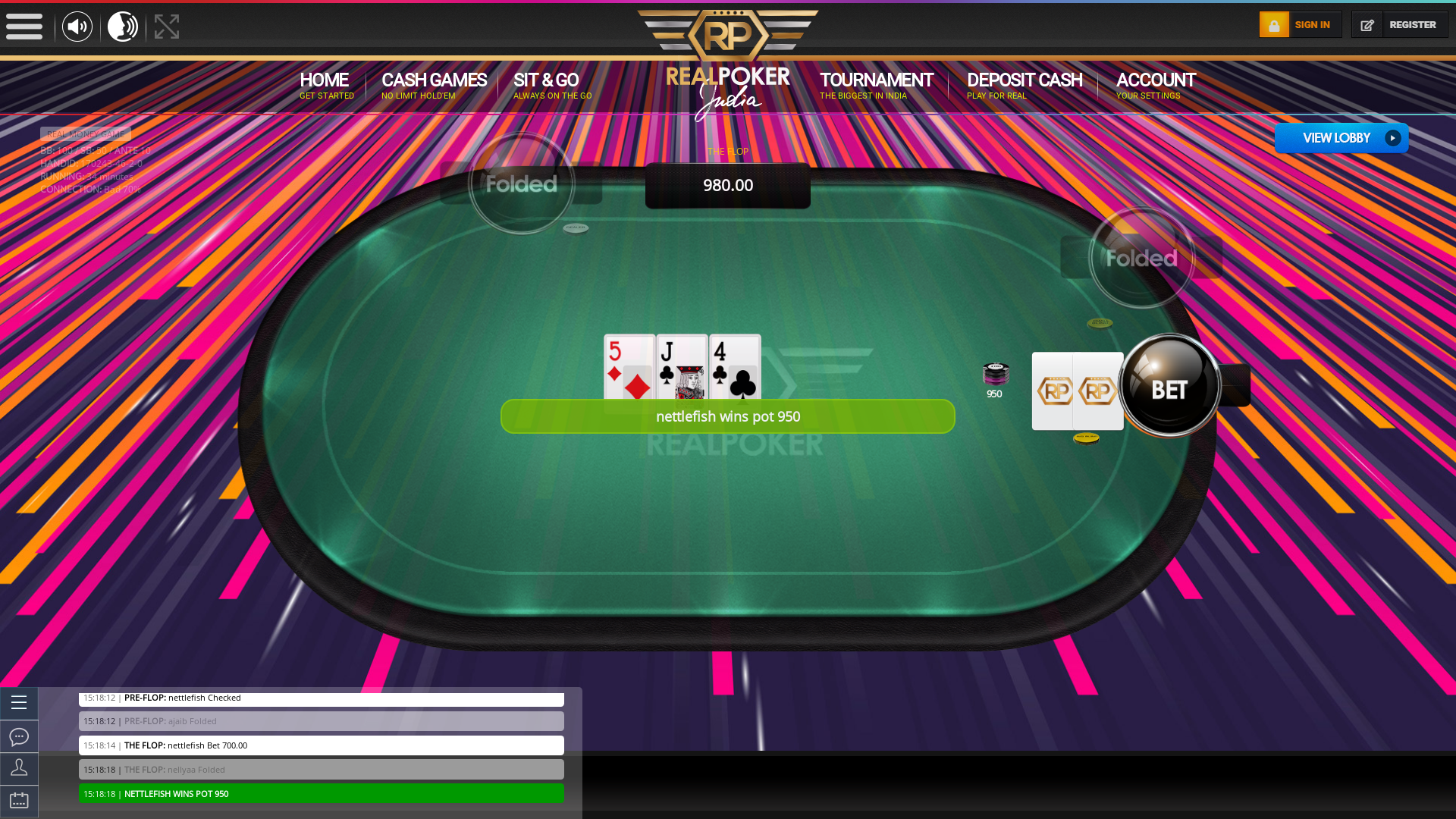 Real Indian poker on a 10 player table in the 34th minute of the game