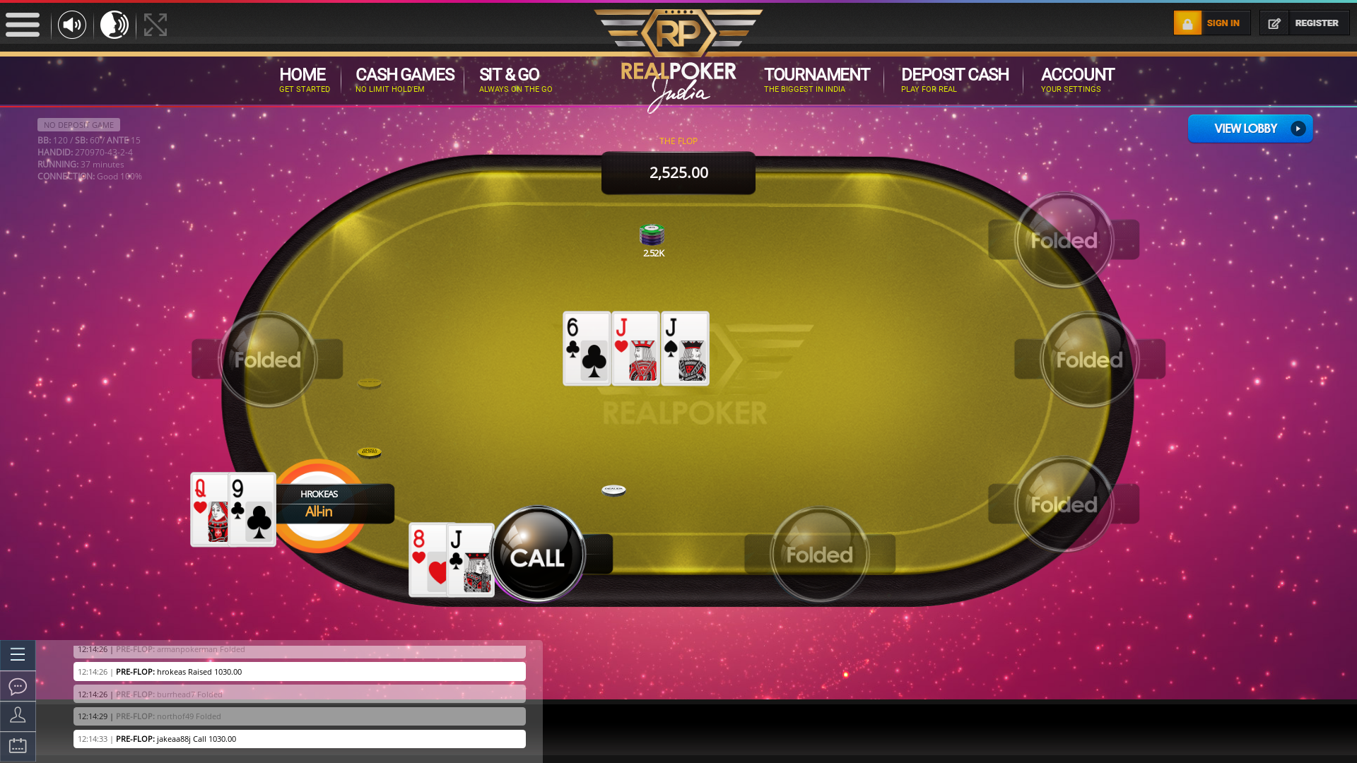 Real Indian poker on a 10 player table in the 36th minute of the game