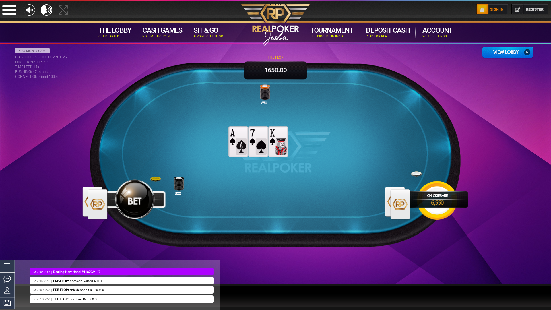 Real Indian poker on a 10 player table in the 47th minute of the game