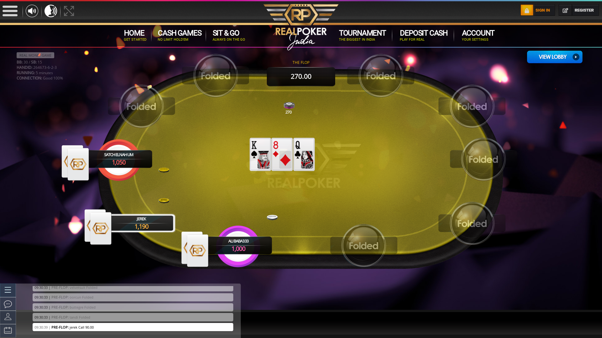 Real Indian poker on a 10 player table in the 5th minute of the game