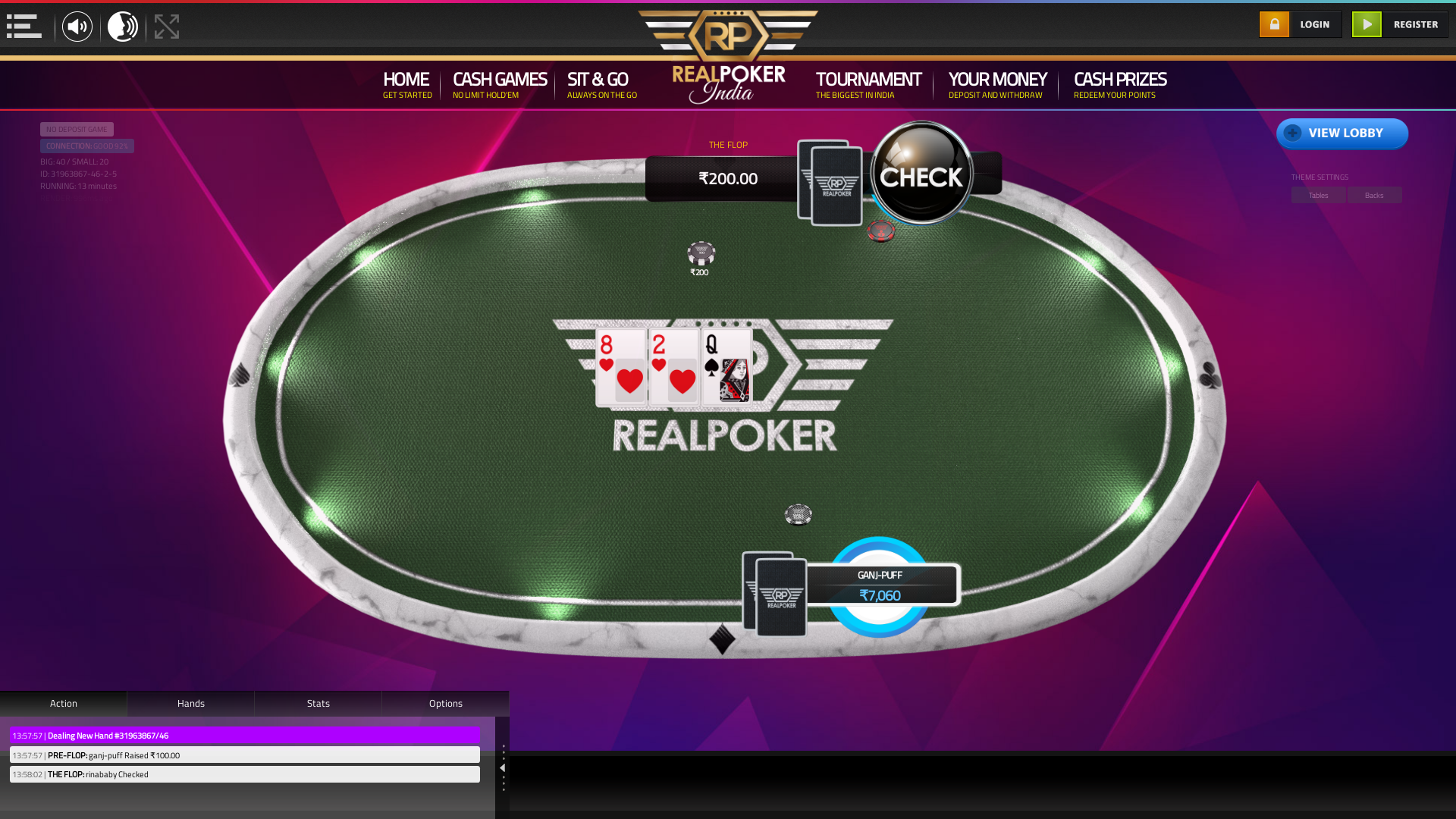 Real poker 10 player table in the 13th minute of the match