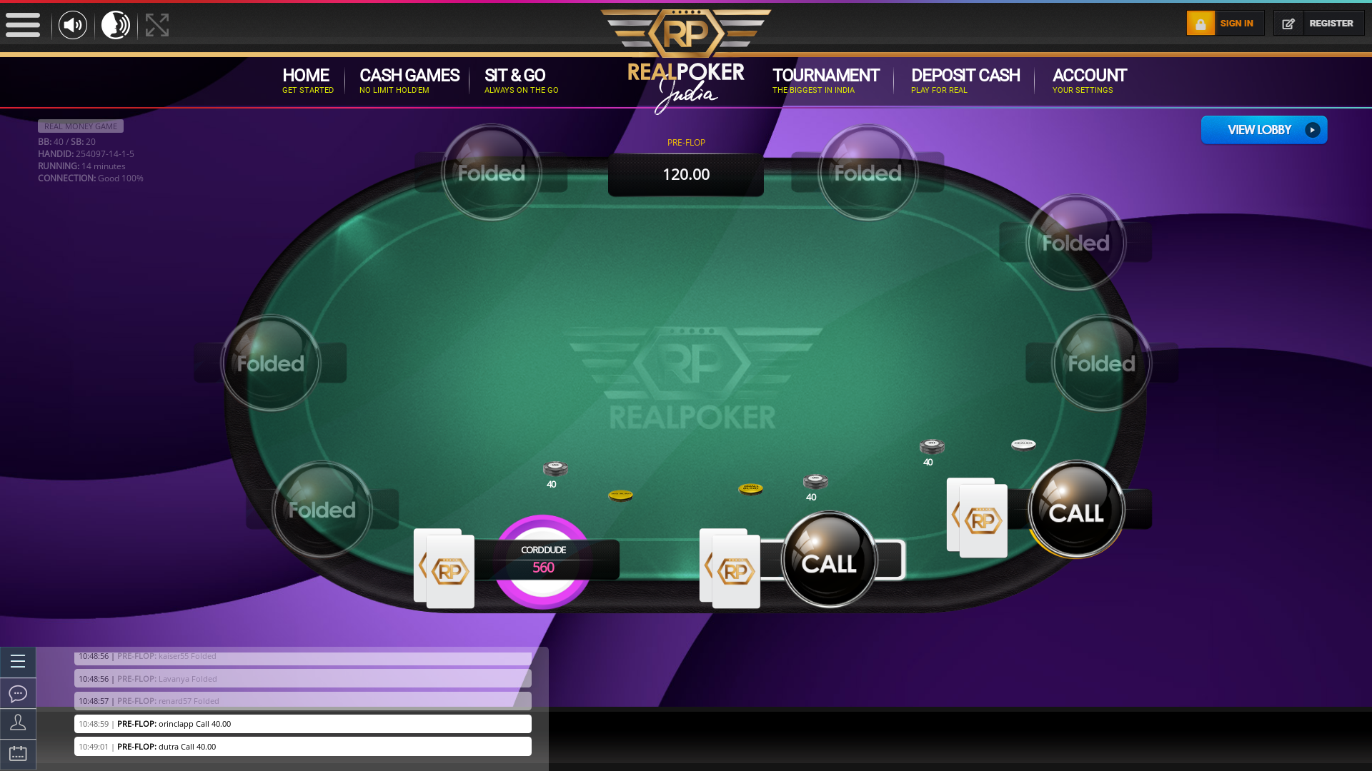 Real poker 10 player table in the 14th minute