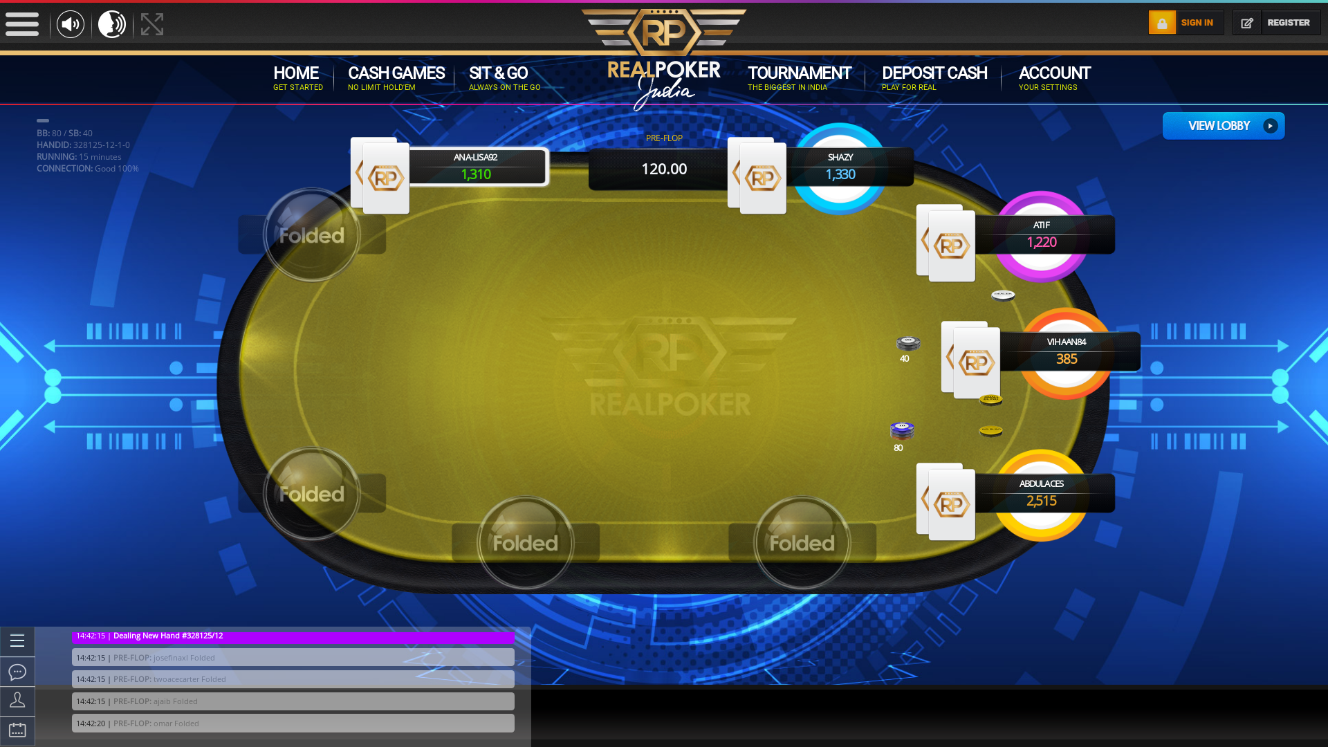 Real poker 10 player table in the 15th minute of the match