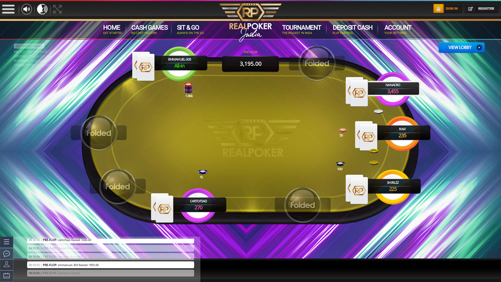 Real poker 10 player table in the 19th minute of the match