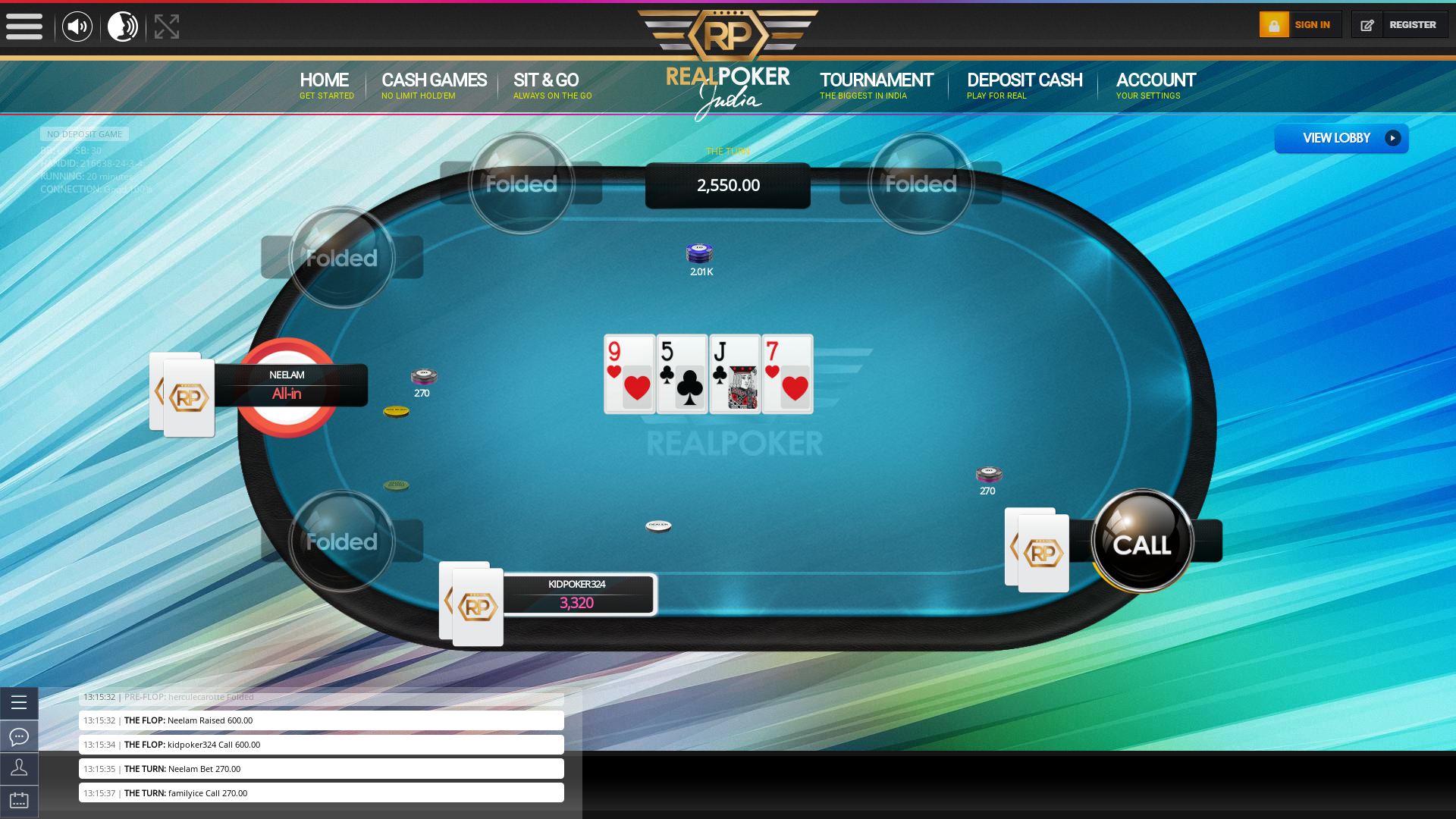 Real poker 10 player table in the 20th minute of the match