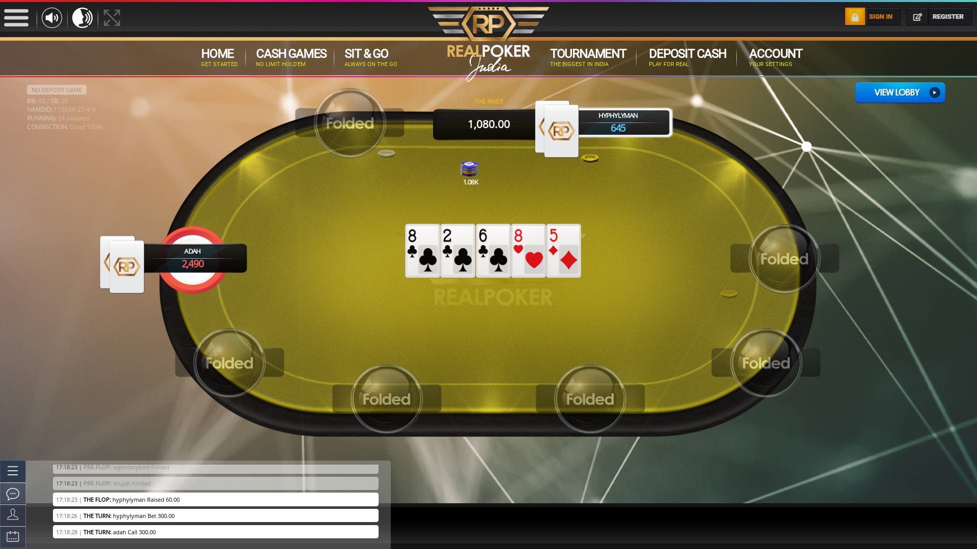 Real poker 10 player table in the 24th minute of the match