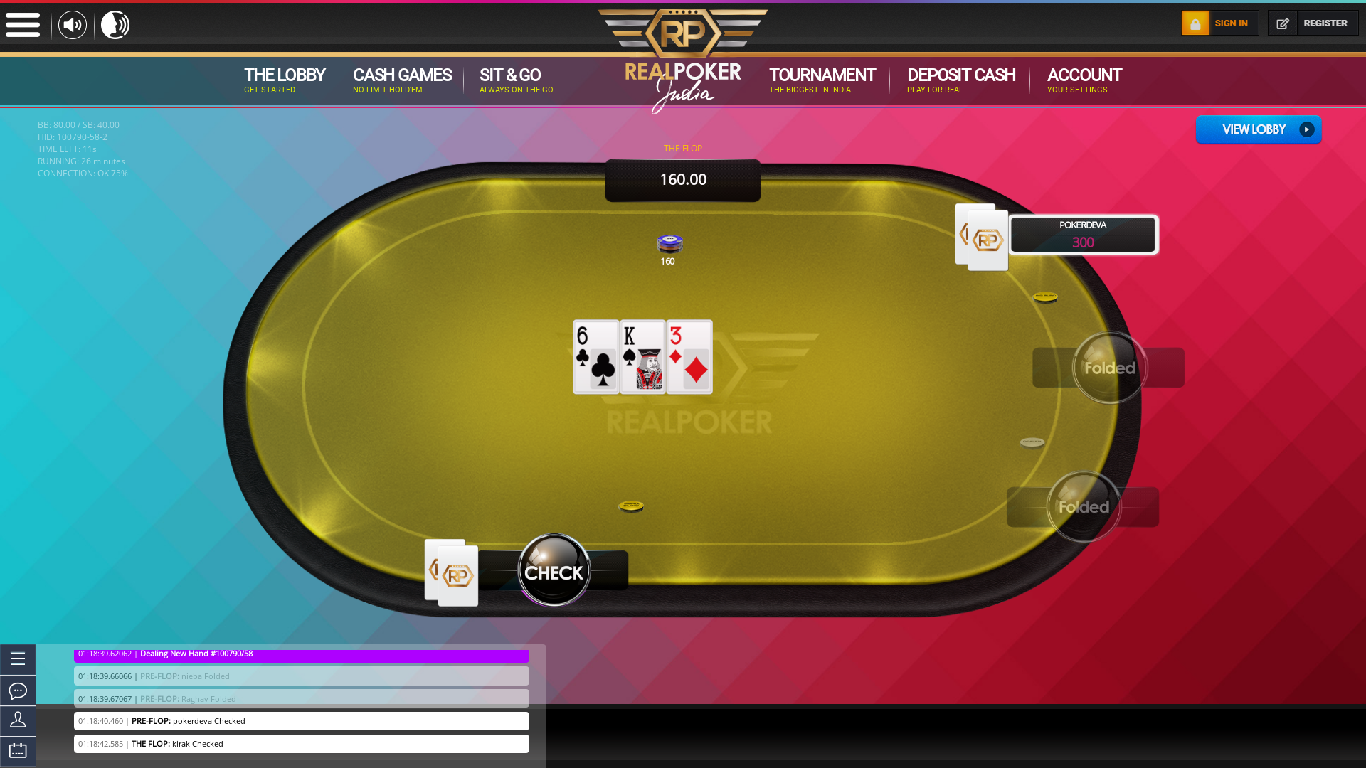 Real poker 10 player table in the 26th minute of the match