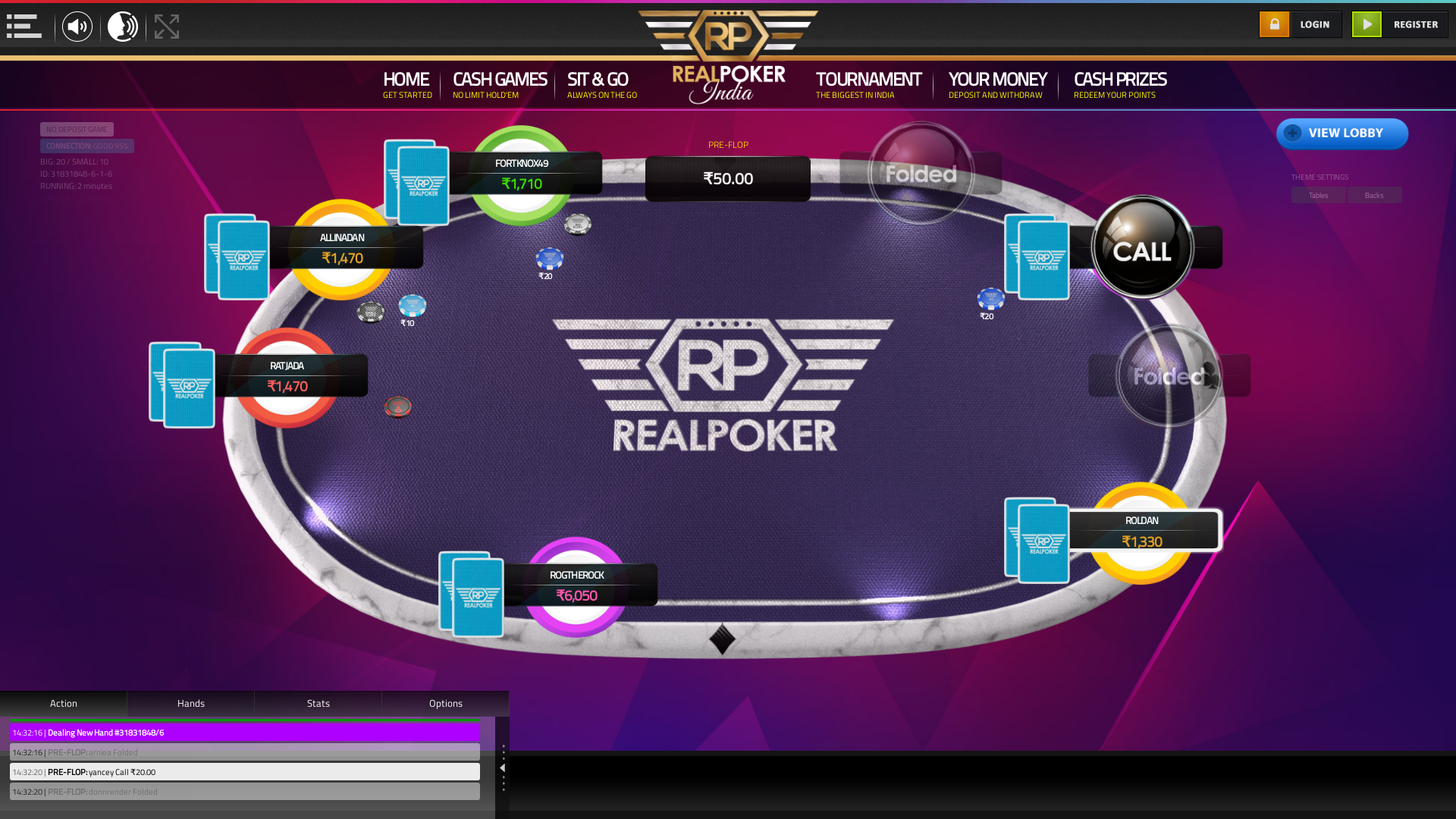 Real poker 10 player table in the 2nd minute of the match