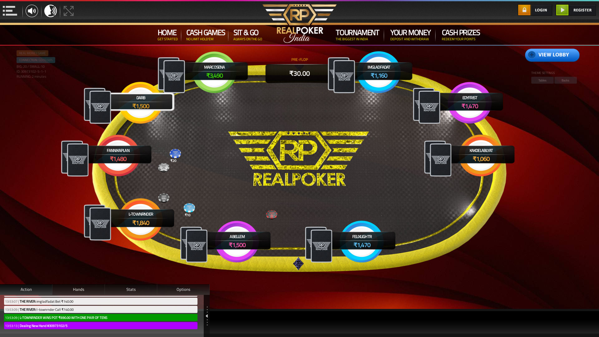 Real poker 10 player table in the 2nd minute