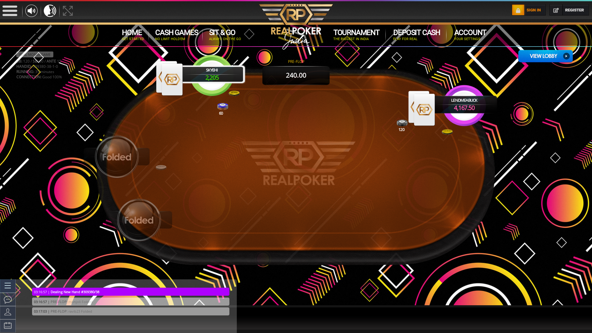 Real poker 10 player table in the 35th minute