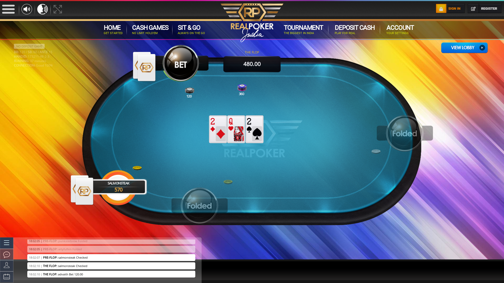 Real poker 10 player table in the 37th minute