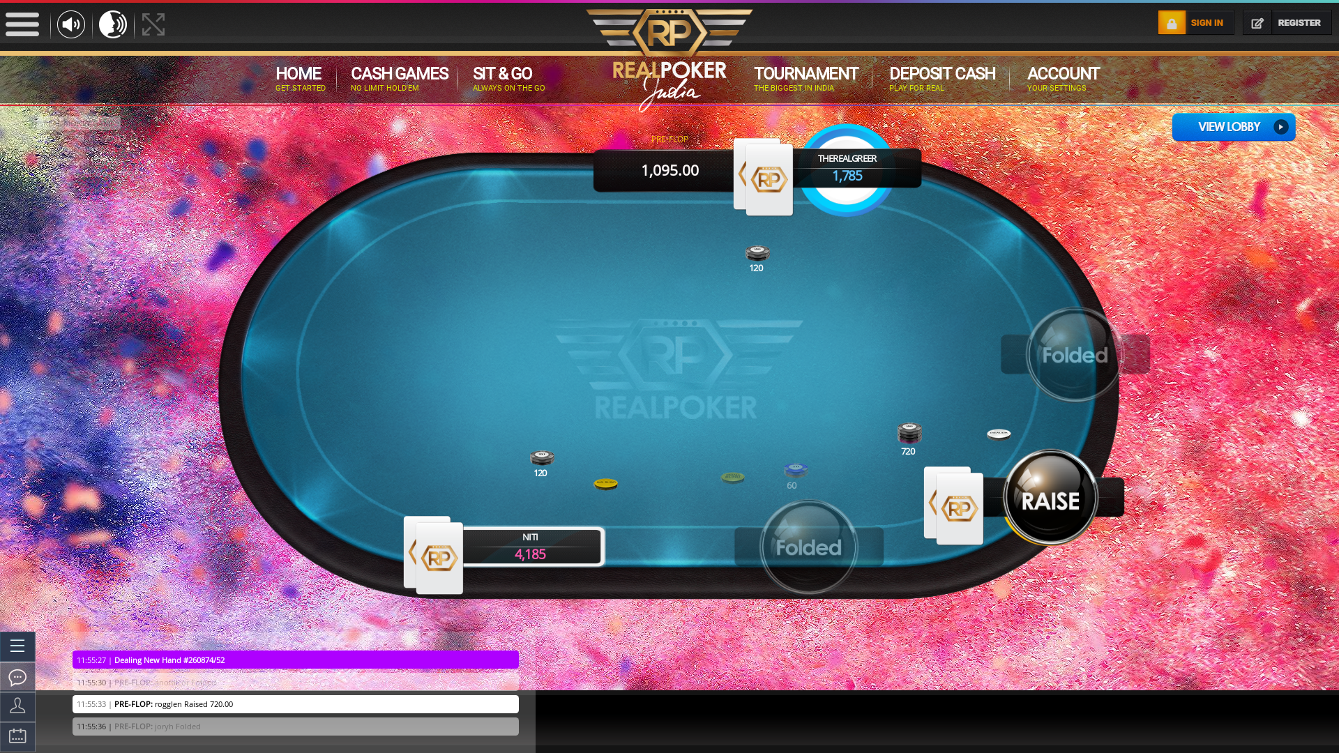 Real poker 10 player table in the 38th minute of the match