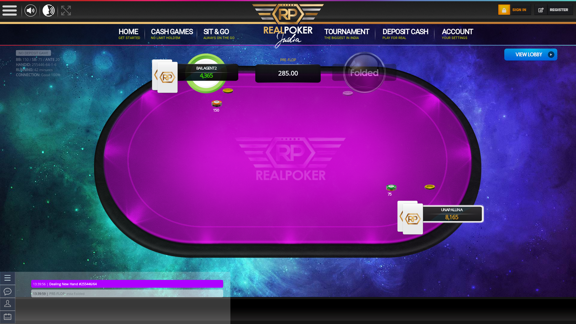 Real poker 10 player table in the 42nd minute of the match