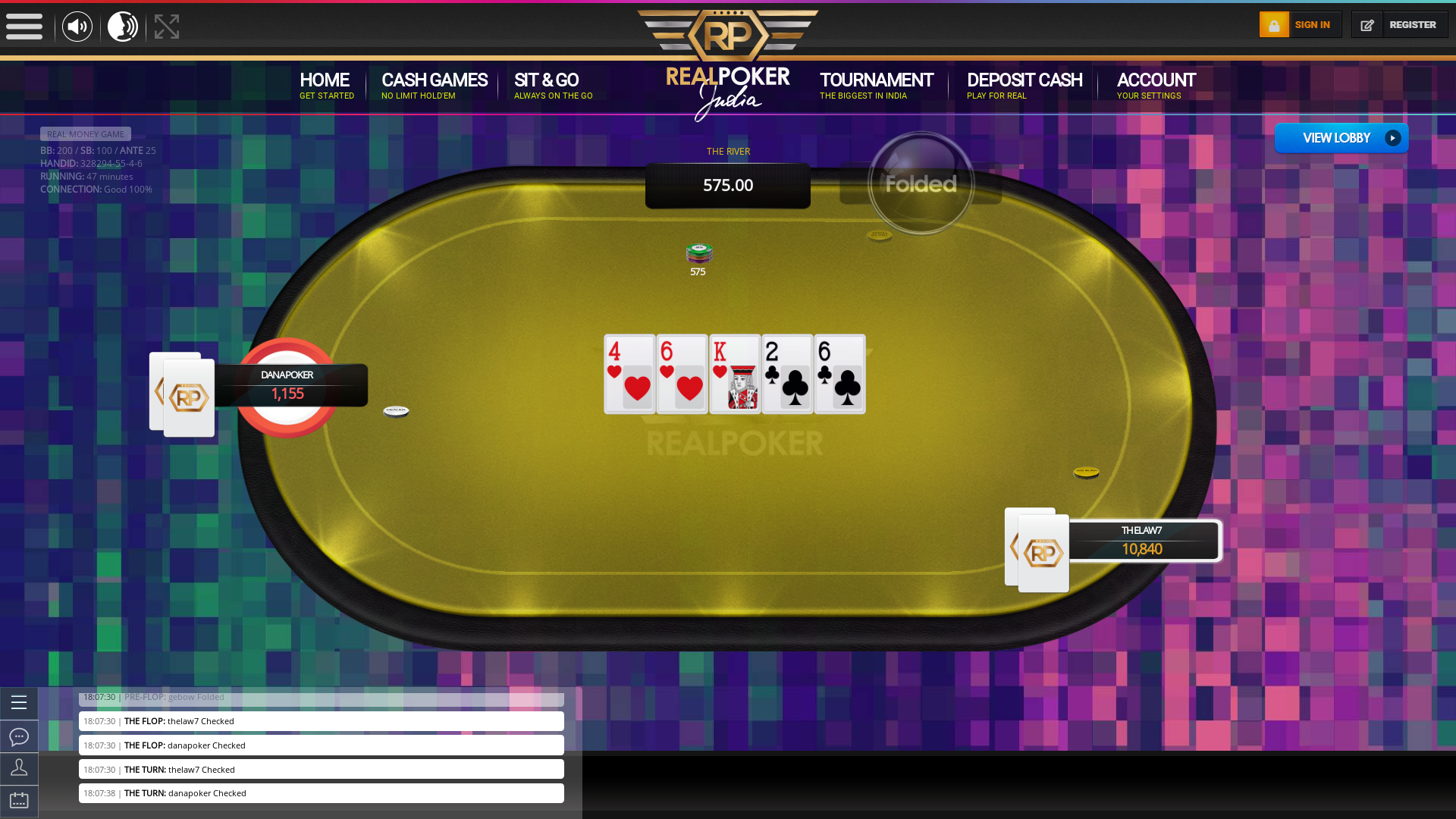 Real poker 10 player table in the 47th minute of the match