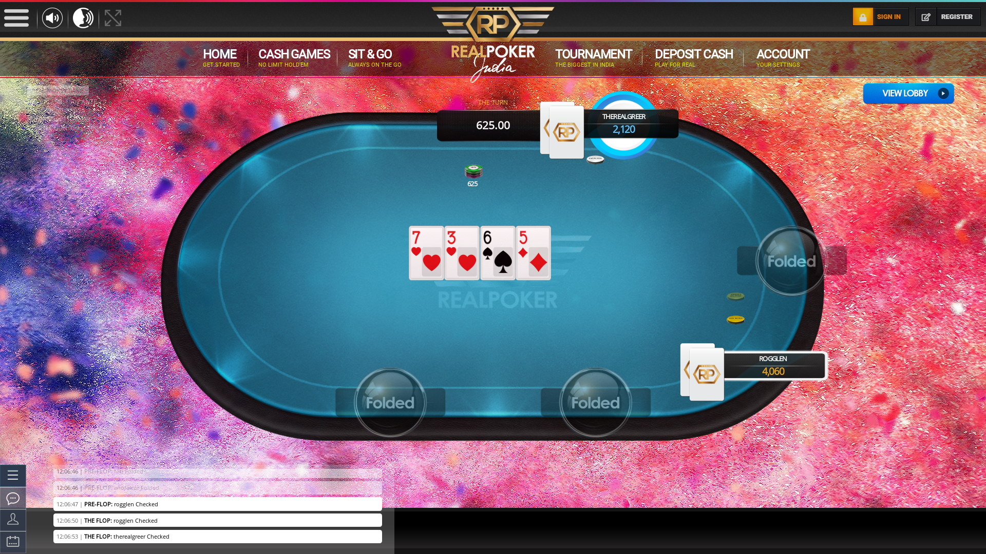 Real poker 10 player table in the 49th minute of the match