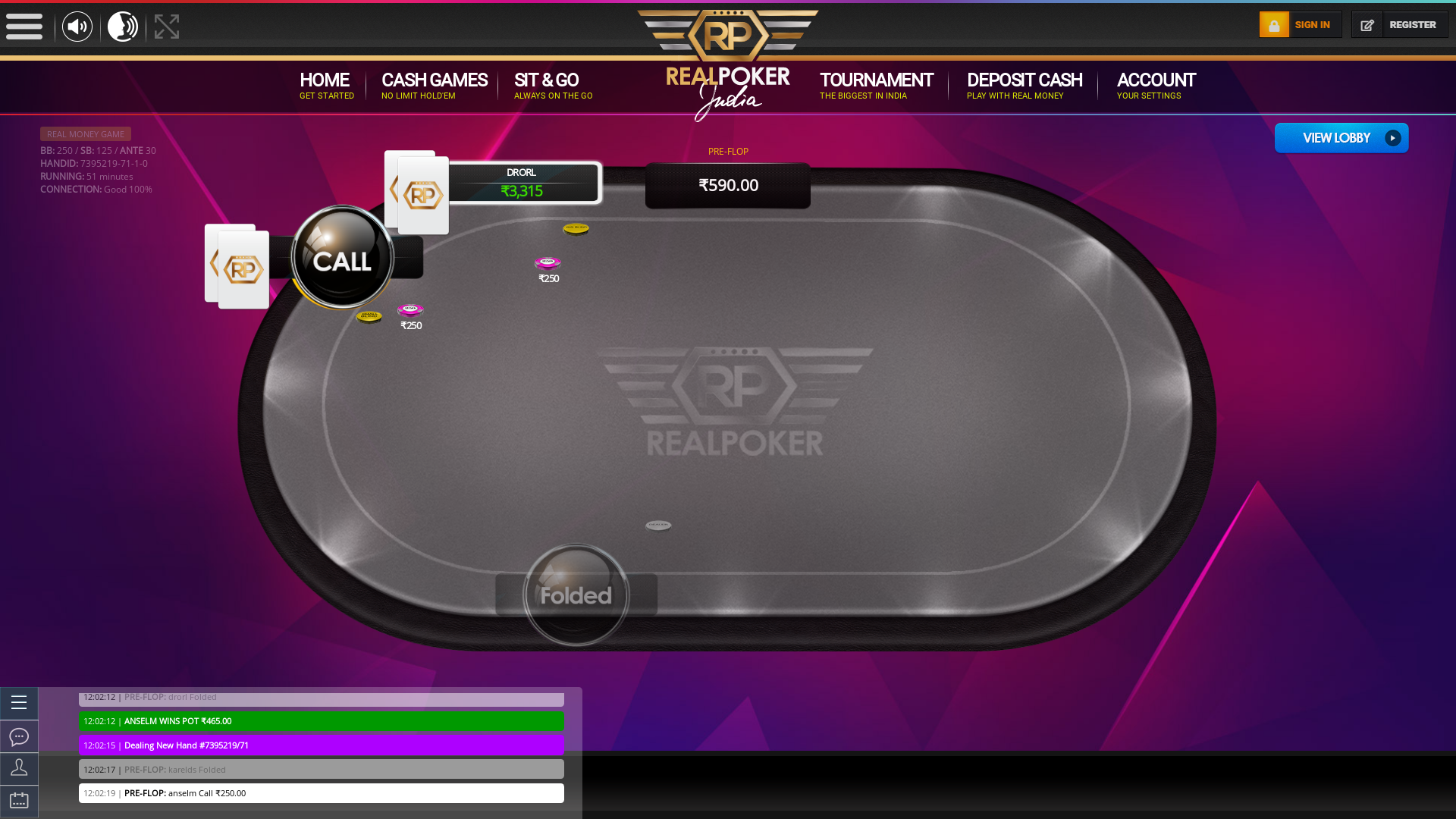 Real poker 10 player table in the 50th minute of the match
