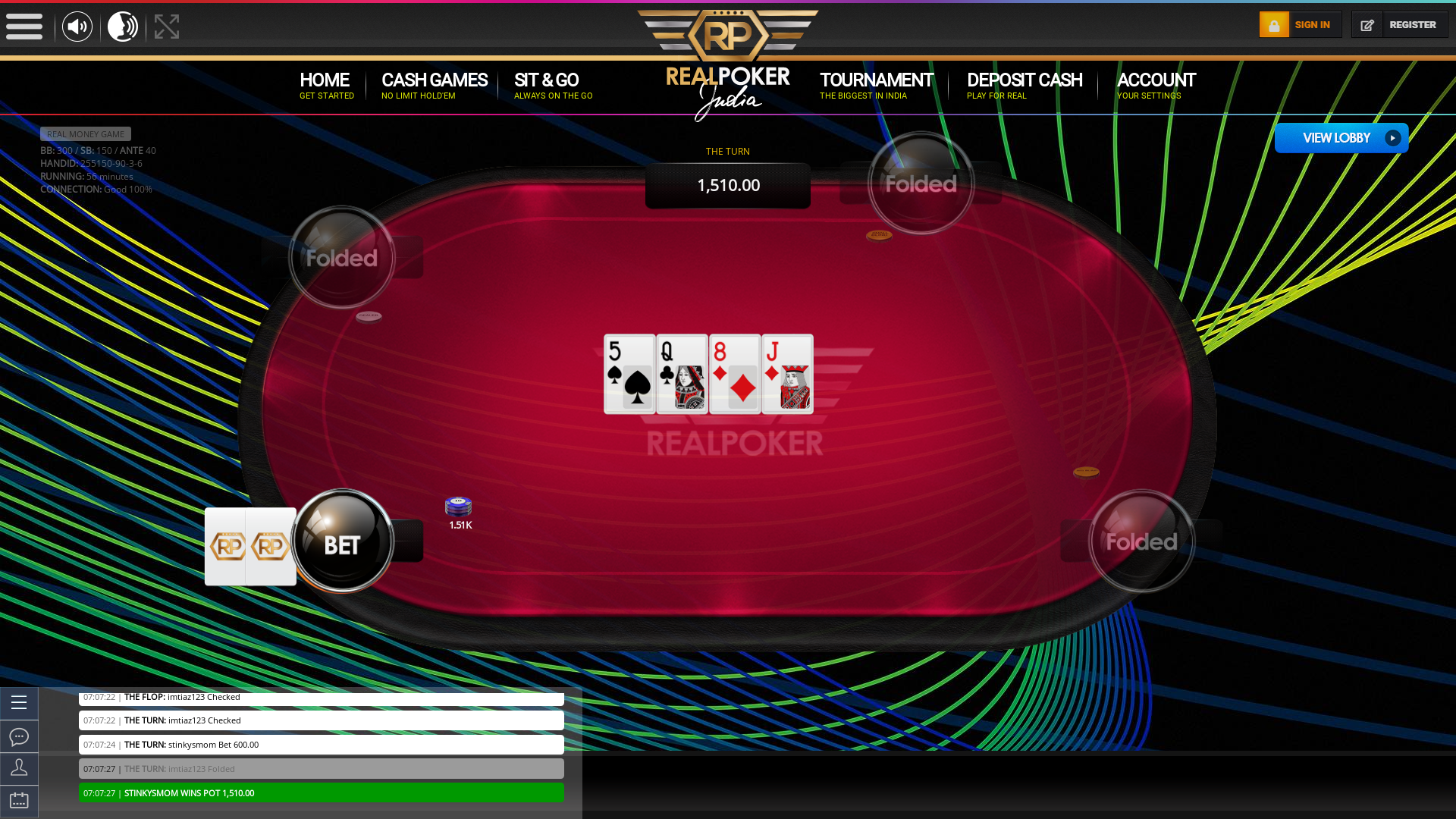 Real poker 10 player table in the 56th minute of the match
