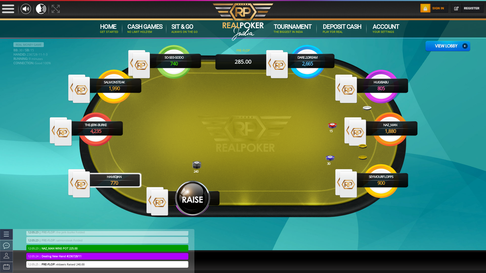 Real poker 10 player table in the 9th minute of the match