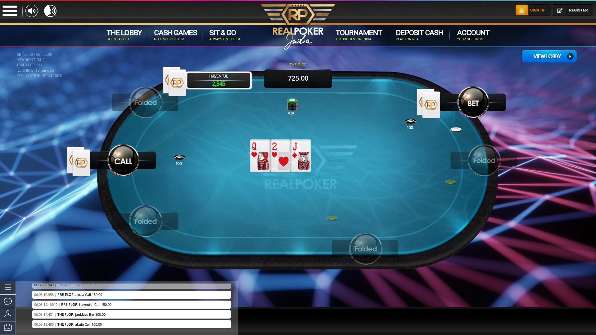 Real poker on a 10 player table in the 18th minute of the game