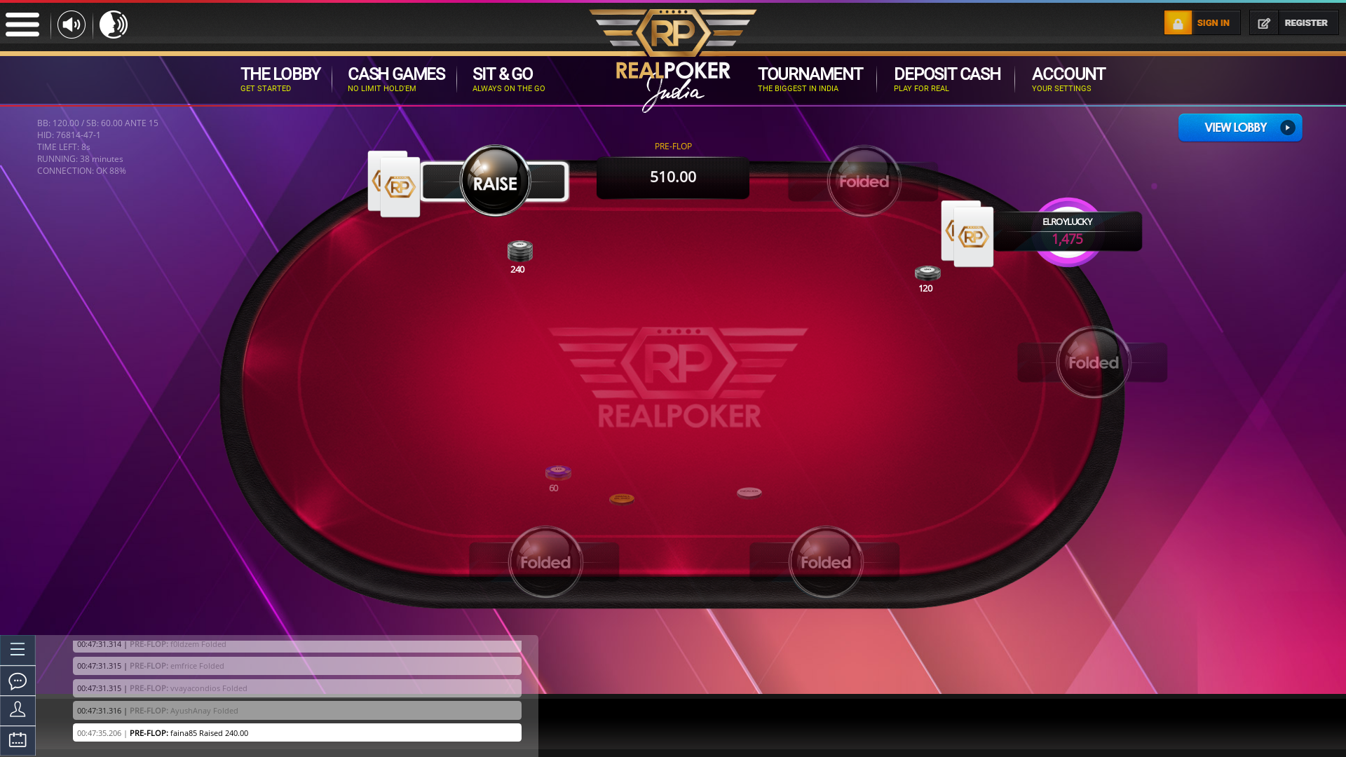 Real poker on a 10 player table in the  game