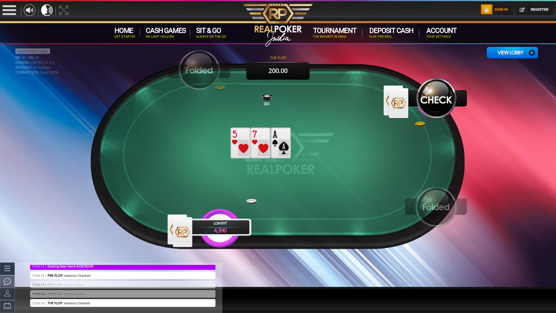 Real poker on a 10 player table in the 27th minute of the game