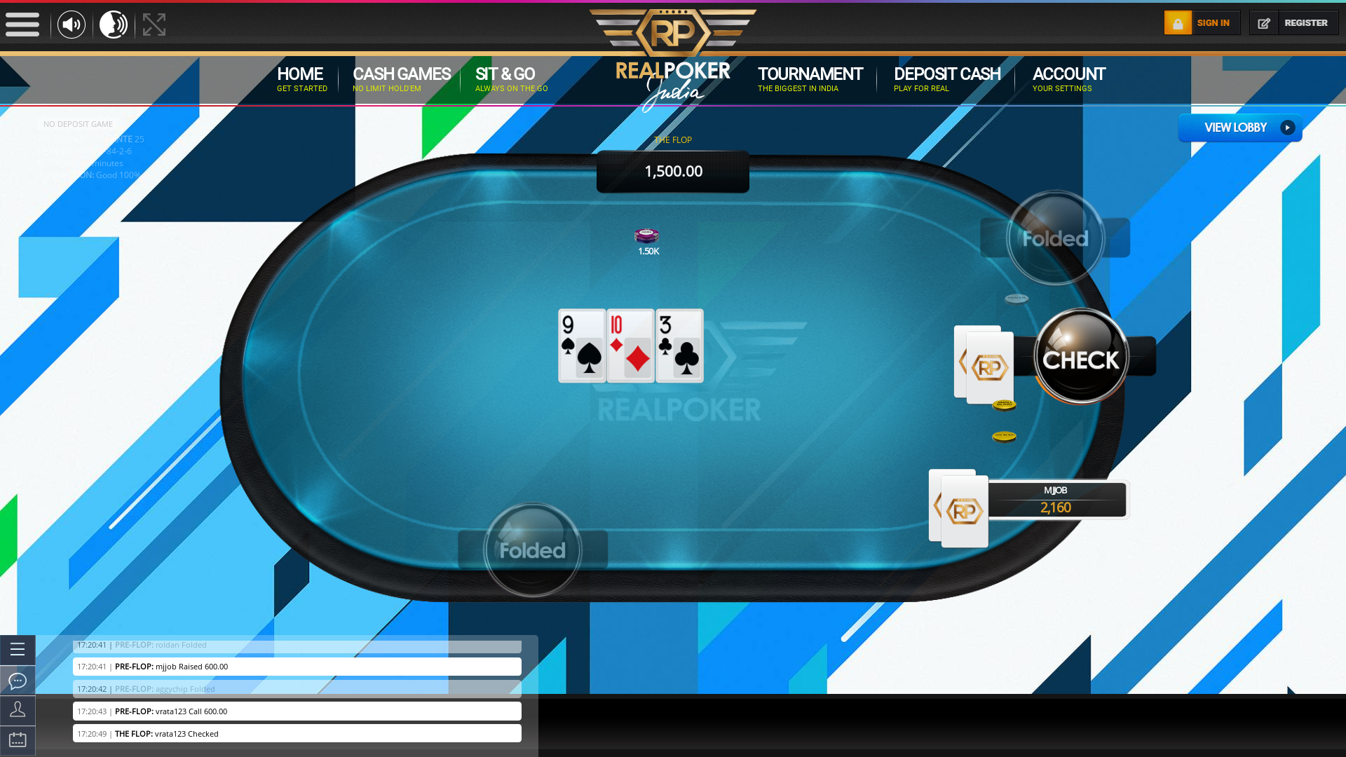 Real poker on a 10 player table in the 49th minute of the game