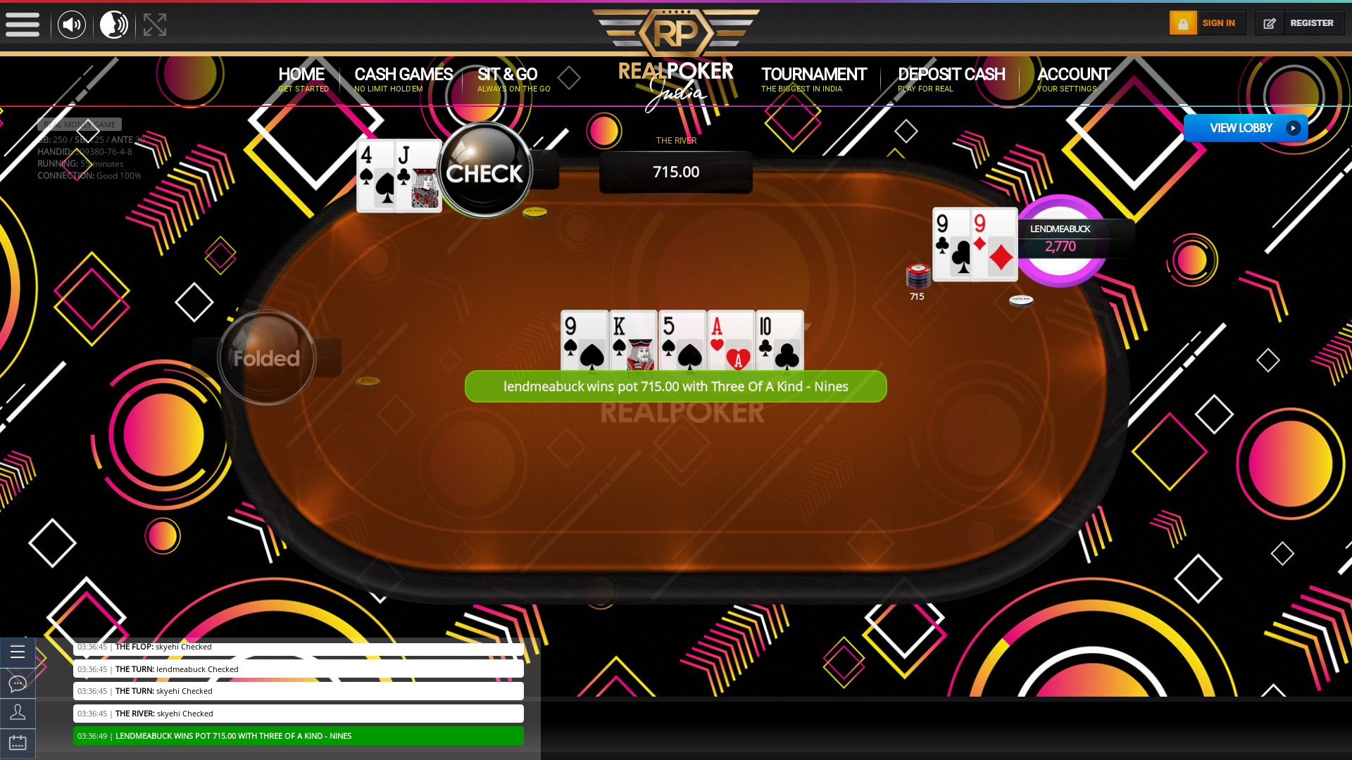 Real poker on a 10 player table in the 55th minute of the game