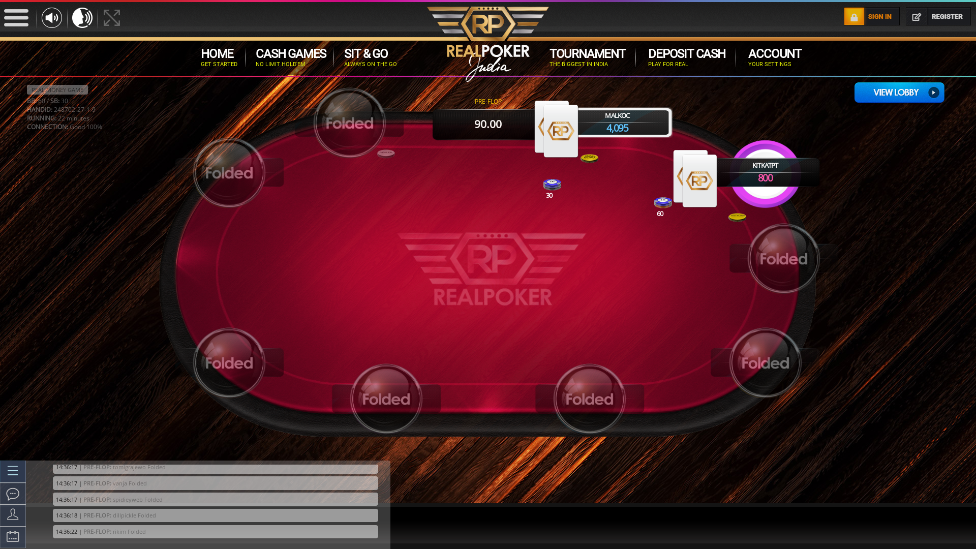 The 27th hand dealt between rikim, dillpickle, mariya, assim, spidieyweb, tomigrajewo, kitkatpt, malkoc, vanja,  on poker india
