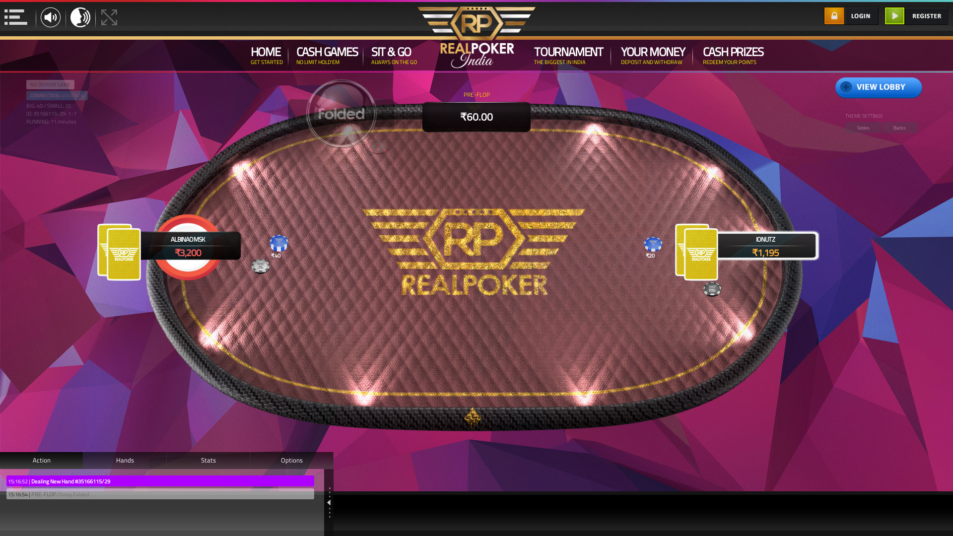 The 28th hand dealt between albinaomsk, ionutz, flossy,  on poker india
