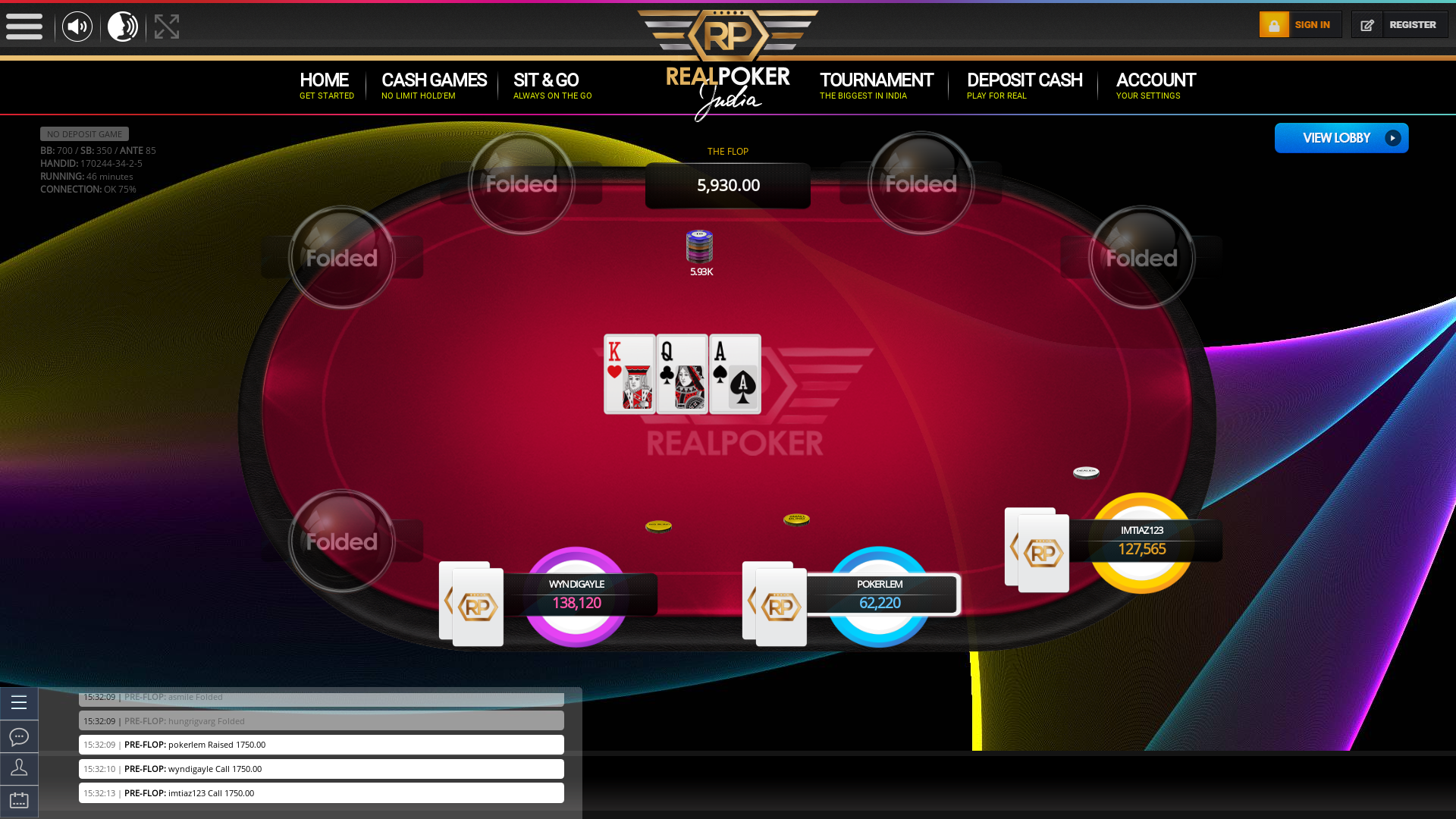 The 34th hand dealt between wyndigayle, imtiaz123, spidieyweb, asmile, asia-girly, hungrigvarg, pokerlem, lilmegalodon,