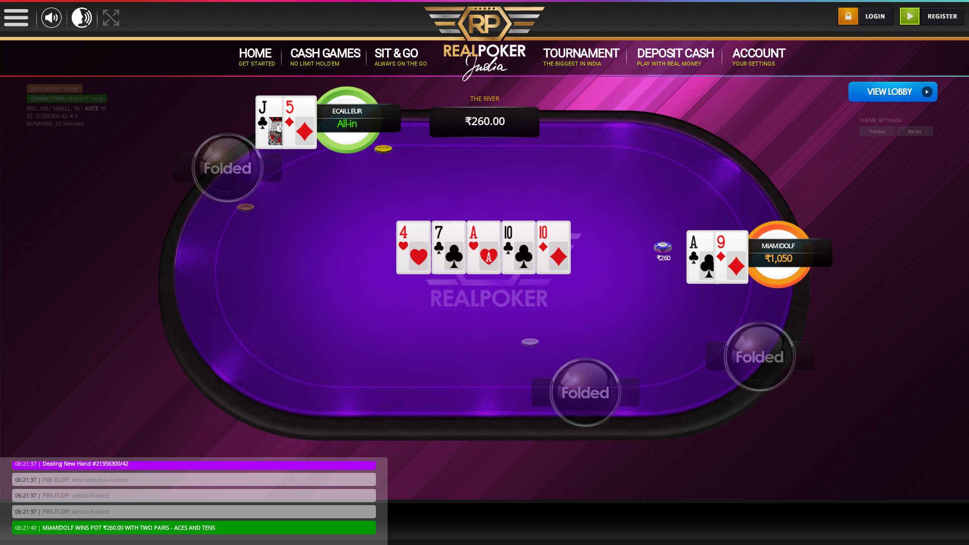 The 42nd hand dealt between athenenoctua, srdotti, aarush, miamidolf, Ecailleur,  on poker india