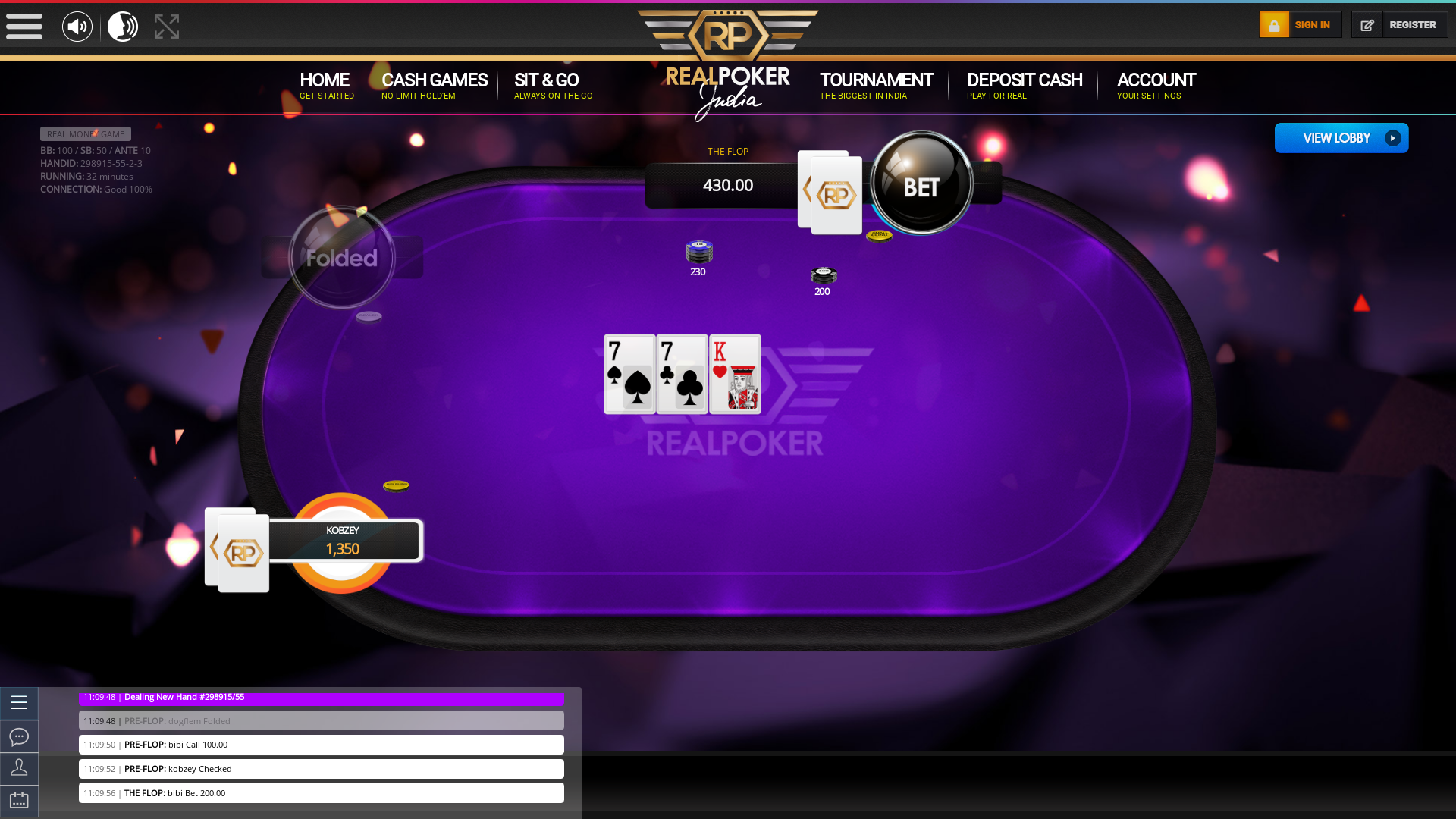 The 54th hand dealt between kobzey, bibi, dogflem,  on poker india