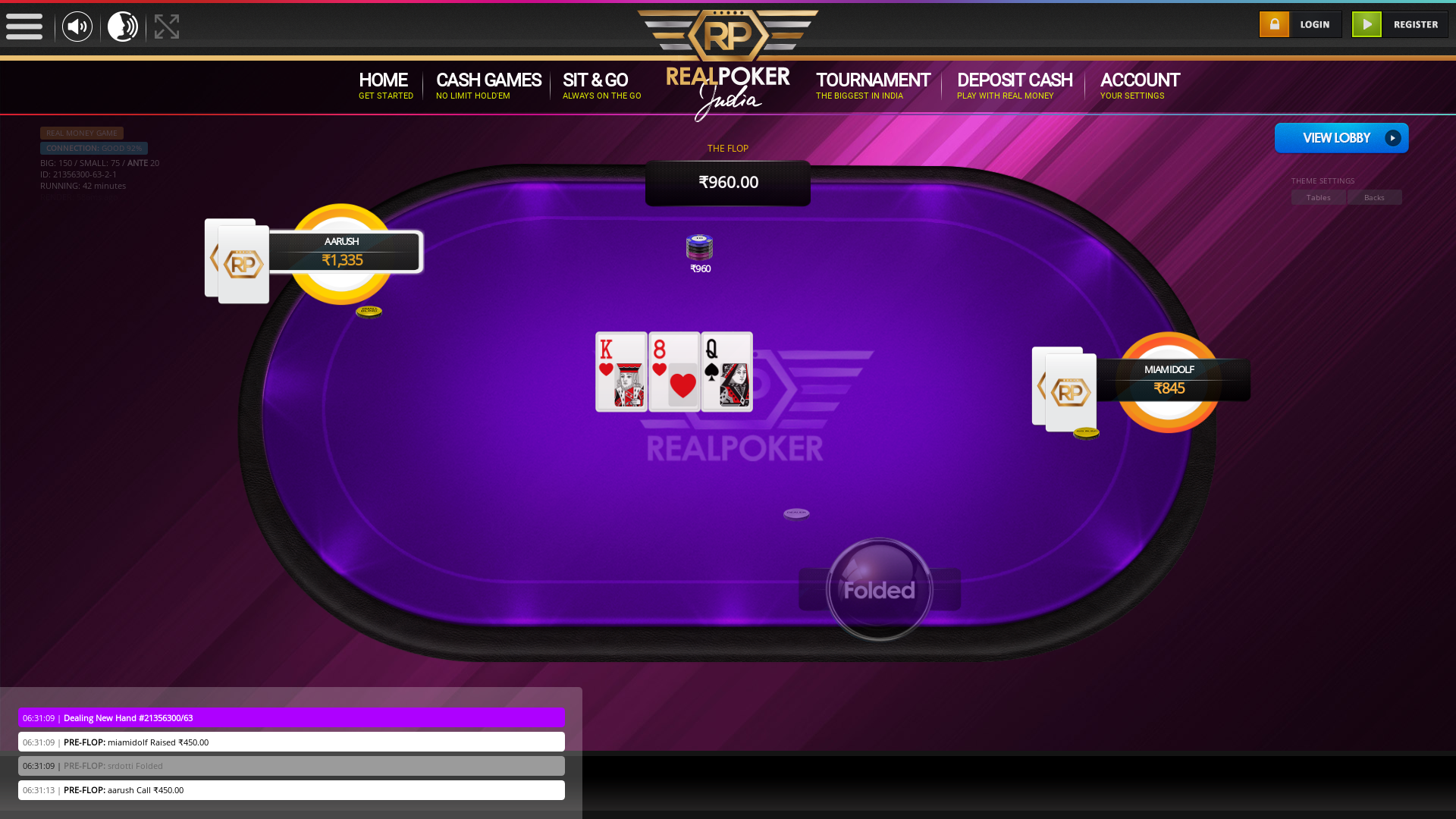 The 63rd hand dealt between srdotti, aarush, miamidolf,  on poker india