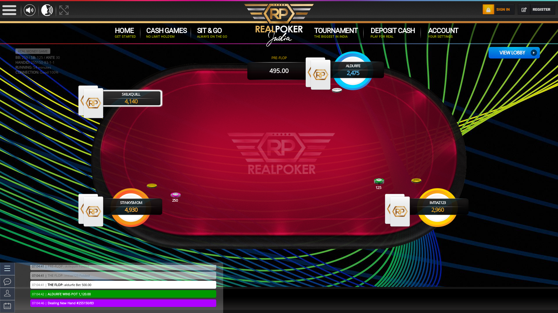 The 82nd hand dealt between skilkquill, aldurfe, stinkysmom, imtiaz123,  on poker india