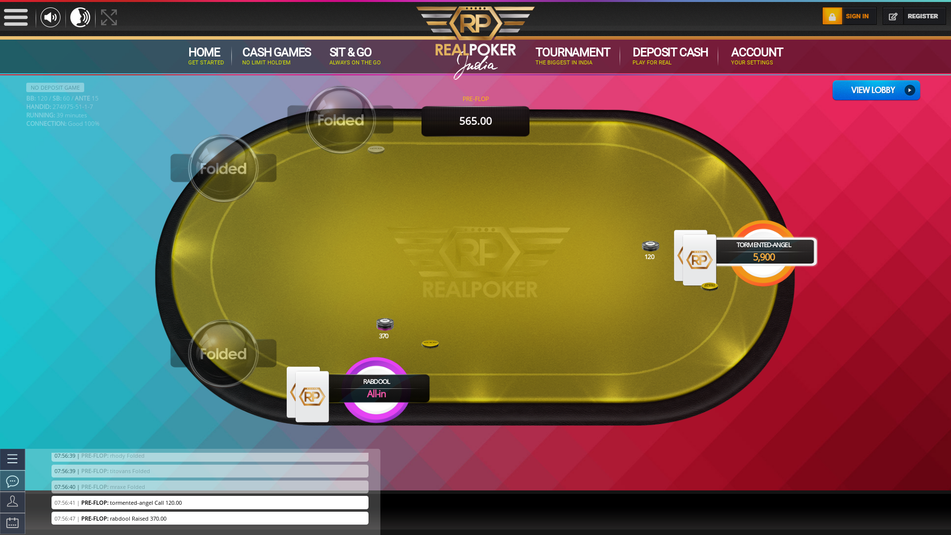 Vasant Vihar, New Delhi online poker game on a 10 player table in the 39th minute of the game